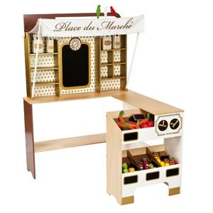 Houten winkeltje Chic speelgoed van Janod online kopen: www.cocodrilo.be/speelgoed/detail/houten-winkeltje-chic/3545